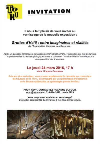 Invitation au vernissage de l'expo grottes d'Haïti